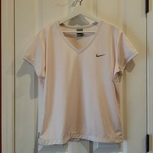 NIKE Dri-Fit Pink V-Neck Short Sleeve Tee XL 16-18